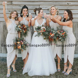 Spring Side online shopping - Chiffon Bridesmaid Dress African halter Country Garden Formal Wedding Party Guest dress Maid of Honor Gown Plus Size Custom Made Under
