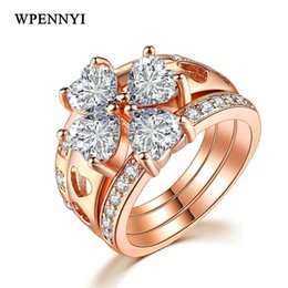 $enCountryForm.capitalKeyWord Canada - On Sale Unusual 3 in 1 Four Leaf Clover Women Finger Ring Sets Heart-shape Crystal Rose Gold Color Wholesale Drop Ship