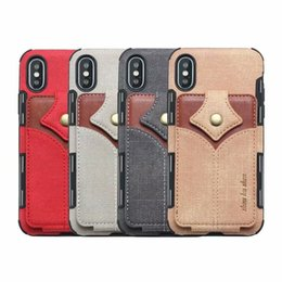 Discount iphone card box case - For Iphone XR XS MAX X 8 7 6 Wallet ID Card Slot Leather Hybrid Hit Color Soft TPU Silicone Cash Cases Magnetic Flip Cov