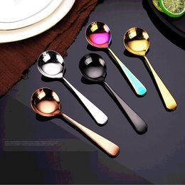 shipping spoon NZ - 2020 New Stainless Steel Coffee Spoon Long Handle Tea Spoons Kitchen Accessories Hot Drinking Flatware 2PC lot Drop Shipping