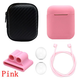Apple Storage Boxes Australia - 5 in 1 Silicone Earphone Pouch Protective Skin Anti-lost Wire Ear Tips Cover Wireless Earphone Case storage box for Apple AirPods