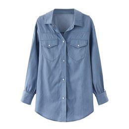 $enCountryForm.capitalKeyWord UK - Denim Shirt Women Clothing Vintage Jeans Shirt Womens Jeans Blusas Long Sleeve Casual Blouse Cowboy Spring Plus Size 5XL