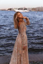 T Shirt Dress Split Up Sides Australia - Formal Handmade Long Sleeves Prom Dresses Applique High Split Deep V Neck Lace Evening Dresses Junior Skinny Girl Party Gowns Bridal Gowns