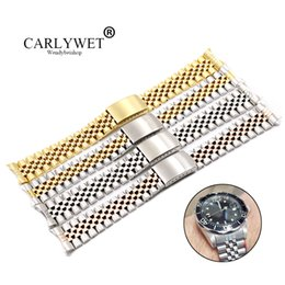 $enCountryForm.capitalKeyWord Australia - Carlywet 19 20 22mm Two Tone Hollow Curved End Solid Screw Links Replacement Watch Band Strap Old Style Jubilee Bracelet T190620