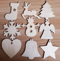 wooden pendant shapes Australia - Christmas Wooden Chips Shaped Embellishments Hanging Decorations Wood Crafts DIY Accessories Small Pendants for Christmas Tree 10pcs lot