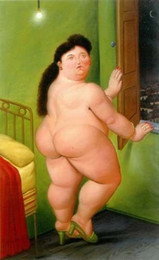 art painting nude girls Australia - Fernando Botero fat nude girl Home Decor Handpainted &HD Print Oil Painting On Canvas Wall Art Canvas Pictures 191127