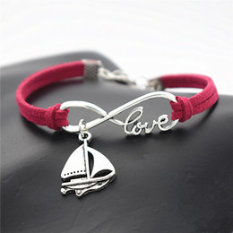 $enCountryForm.capitalKeyWord Australia - New Fashion Single Layers Rose Red Leather Rope Bracelet for Women Men Infinity Love Sailing Ship Sail Boat Sailboat Amulet Handmade Jewelry