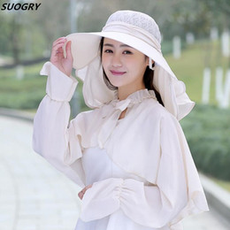 sun suits Australia - SUOGRY Fashion Summer Ladies Hollow Top Sun Hat Women Anti UV Sunscreen Wrap Shawl Suits