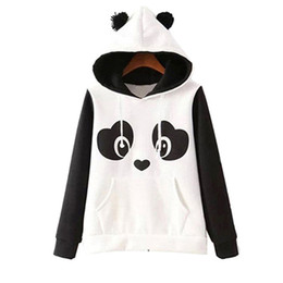 Wholesale sweatshirt hoodies panda for sale – custom S xl Cute Cotton Blended Women S Panda Fleece Pullover Hoodie Sweatshirts Hooded Coat Tops Hot