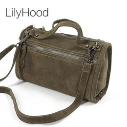 $enCountryForm.capitalKeyWord Australia - LilyHood Female Suede Genuine Leather Rivet Shoulder Bag For Women Leisure Small Boston Handbag Nubuck Bowler Crossbody Bag Y190619