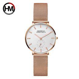 $enCountryForm.capitalKeyWord NZ - HANNAH MARTIN Women Rose Gold Stainless Steel Mesh Watch Fashion Black Analog Watches Ladies Waterproof Causal Simple Watch