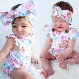 5t romper online shopping - baby Flowers romper Baby Girls Jumpsuits INS Kids Flying Sleeves Bodysuit Headband Outfits Floral Printing Clothing KKA6486