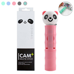 $enCountryForm.capitalKeyWord Australia - Mini Cartoon portrait Panda wired Selfie Sticks Monopod Extendable For iPhone Samsung HUAWEI Android Smartphone Remote Shutter Selfie pole