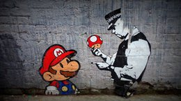 Discount street art home decor Graffiti Street Banksy Mario Brother Police Home Decor Handpainted &HD Print Oil Painting On Canvas Wall Art Canvas Pict