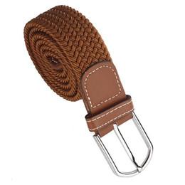 $enCountryForm.capitalKeyWord UK - Men Leather Braided Elastic Stretch Metal Buckle Belt Waistband Brown
