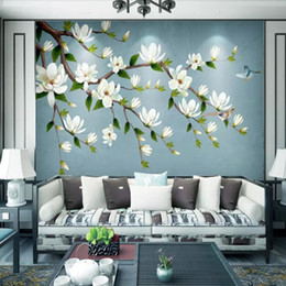 Chinese Painting Paper Australia - Chinese magnolia wallpaper living room TV background wall paper bedroom hand-painted flowers and birds murals 3d video wall covering
