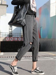 Plus Size Jeans Girls Australia - JUJULAND High Waist Fashion Boyfriend Printed Jeans for Women Hole Vintage Girls Plus Size Ripped Denim Harlan Pants 267