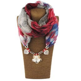 wholesale woven wraps NZ - Fashion scarf necklaces for women marble beads pendent jewelry wrap bandana ethnic winter accessories multicolor