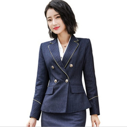 style dress trousers UK - 2019 Blue Striped Pant or Skirt Suit Office Work Wear Women 2 Piece Set Ol Style Dress Trouser Suits Women