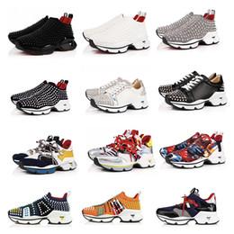 womens casual canvas slip shoes 2019 - New Designer Krystal Spike Sock Donna Flat Men Sneakers Luxury Mens Red Bottom Shoes Womens Rivet Spiky Sock Junior Spik