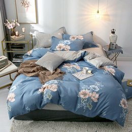 flower silver sheet 2019 - Flower Pineapple Geometric Printed 4pcs Bed Cover Set Cartoon Duvet Cover Bed Sheets And Pillowcases Comforter Bedding S