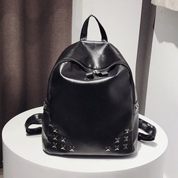 Black Backpack Punk Australia - Women's Black Backpack Rivet Punk Rock Students Bags Travel Bags Zipper PU Leather Fashion For Girls
