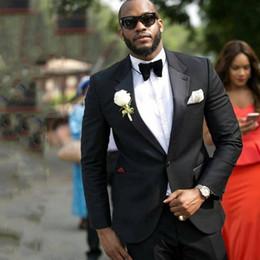 Suits Custom Made Australia - Plus Size Black Men Suits for Wedding Suits Man Blazers Custom Made Groom Tuxedos Groomsmen Suits 2Piece Coat Pants Slim Fit Costume Homme