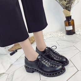 $enCountryForm.capitalKeyWord Australia - Designer Dress Shoes Fashion Rivets Faux Leather Booties Buckle Straps Thick Heel Black Ankle Women Studded Decorated Woman Motorcycle