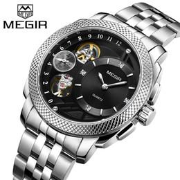 628049e99ae Megir top marca de luxo homens relógio de quartzo de aço inoxidável banda  de negócios relógios de pulso dos homens relógio relogio masculino erkek  kol saati