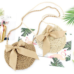 Discount grass woven bag - New Women's Bow Grass Woven Round Paper Rope Fashion Woven Bag Small Fresh Beach Leisure Bag