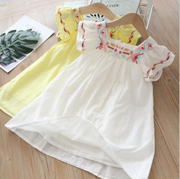 EmbroidEry dEsigns flowEr girl online shopping - New girl kids Clothes Elegant dress Square collar Short Sleeve Flower Embroidery Ethic Design girl kids dress charming girl dress