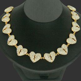 Discount break love - European and American hip hop new diamond necklace, so love broken heart man full hip hop necklace