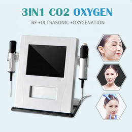 Discount portable machine for oxygen - 2019 portable oxygen facial wrinkle removal machine co2 bubble deep cleaning RF Ultrasonic beauty machine for salon use
