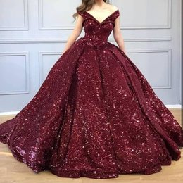 Wholesale 2019 New Burgundy Sequined Off Shoulder Quinceanera Dresses V Neck Sequins Ball Gown Evening Party Dress
