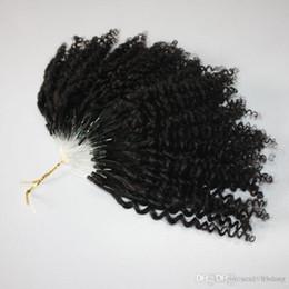 Ingrosso Capelli certificati Kinky Jerry Curly Micro Ring con certificazione CE 400s / lotto Capelli ricci crespi Kinky RED 99J Colore naturale giallo Loop Hair