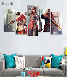 wholesale canvas movie prints Canada - 5PCS Movie Assassins Creed Full Star Poster Wall Modular Picture Canvas Paintings For Living Room Bedroom Kids Room Wallpaper
