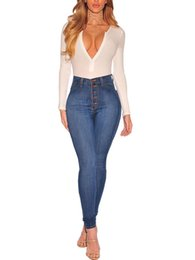 high waist skinny stretchy jeans Australia - 2019 Spring Women Fashion Sexy Light Blue Solid Stretchy Denim Pants Slim Fit Button Design High Waist Skinny Casual Jeans