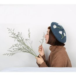 korean beret Canada - Sweet Wool Beret Cap Women Winter Warm Dandelion Beret Ladies Korean Christmas Hats New Year'S Gift Valentine'S Day Handmade Cap