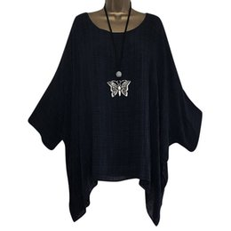 Plus size oversized shirts online shopping - Women shirt Oversized Loose Batwing Long Sleeve Shirts Baggy solid color plus size summer ladies Tops Blouses Fashion chemise