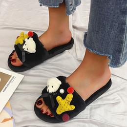 $enCountryForm.capitalKeyWord Australia - 1Winter Women Home Slippers Cute Bear Warm Shoes Women Short Plush Flats Faux Fur Slides Not-slip Casual Shoes Slippers
