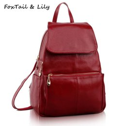 $enCountryForm.capitalKeyWord Australia - FoxTail & Lily Fashion Korean Style Women Backpack Genuine Leather School Bags for Girls High Quality Female Travel Backpack