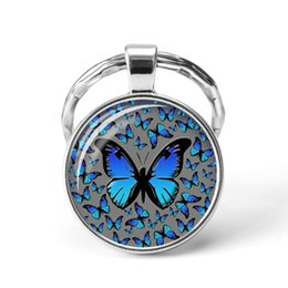 2019 Butterfly Key Ring Art Photo Glass Cabochon Keyhain Fashion Gift from hot cell phone accessories manufacturers