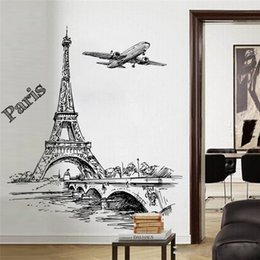 wall art home bridges Canada - creative sketch tower bridge wall decals bedroom home decor 50*70cm scenery wall stickers pvc mural art diy posters