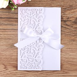 White Rose Card Wedding Australia - New Wedding Invitation Cards Hollow Invitation Pocket Ribbon, Inner Card Set Elegant Rose Gold Glitter Business Invitation Wholesale W137