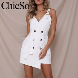 White Linen Club Dresses Australia - Missychilli Sleeveless Double Button Short Summer Dress Women V Neck Bodycon Black Blazer Dress Female Casual Sexy White Dress Y19052901