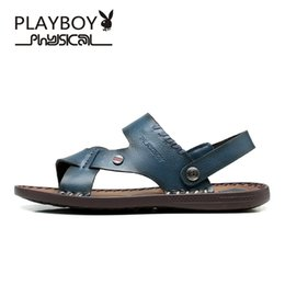 Wholesale PLAYBOY High Quality Sandal Men Summer New Arrival Slippers Genuine Leather Casual Sandals Men Brand Shoes Big Size