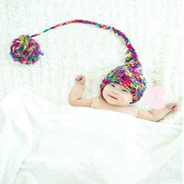 crochet long tail hats NZ - Baby fotografie props new born pom pom hat long tail newborn photography prop knit toddler beanie infant shooting baby photo accessories