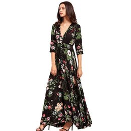 $enCountryForm.capitalKeyWord UK - New Bohemian Retro National Floral Printed Resort V-neck Loose Fitting Long Dress Floral Print V Neck Button Tied Casual Maxi Dress