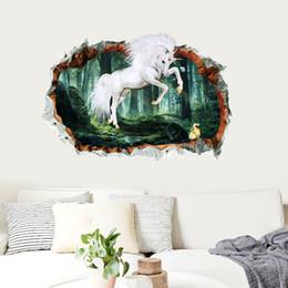$enCountryForm.capitalKeyWord Australia - 3D Animal Unicorn Wall Stickers Window Effect Wall Decal For Baby Kids Bedroom Room Home Decoration