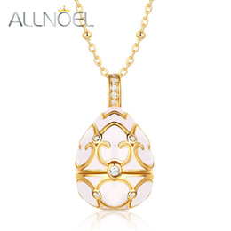 $enCountryForm.capitalKeyWord Australia - ALLNOEL Long Chain Sweater Necklace Costume Jewelry Kits 925 Sterling Silver Enamel Ggg Pearl Cage Locket Pendant White Zircon